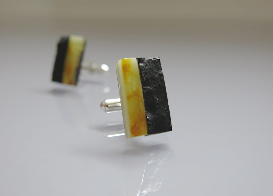 cufflinks - Baltic amber, hard coal, silver