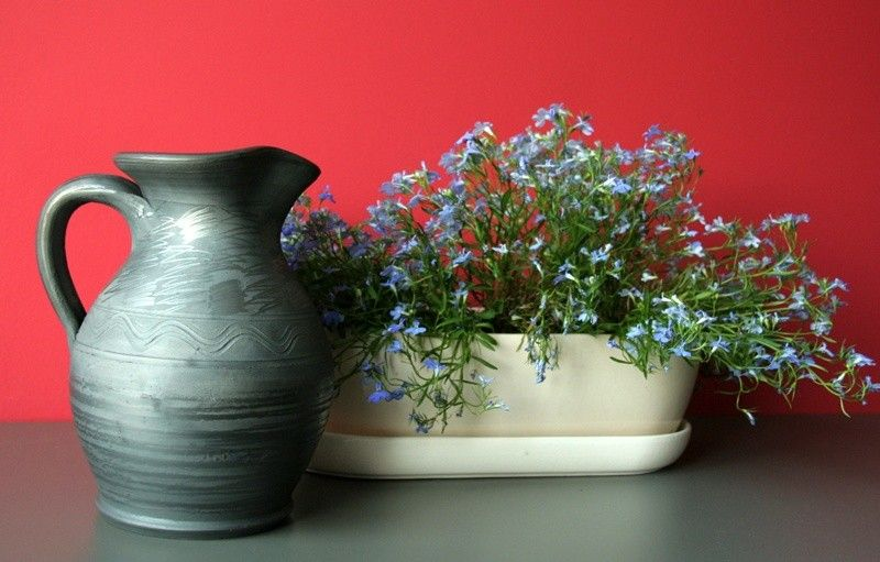 folk ceramics – a jug (grey pottery) and a flower pot